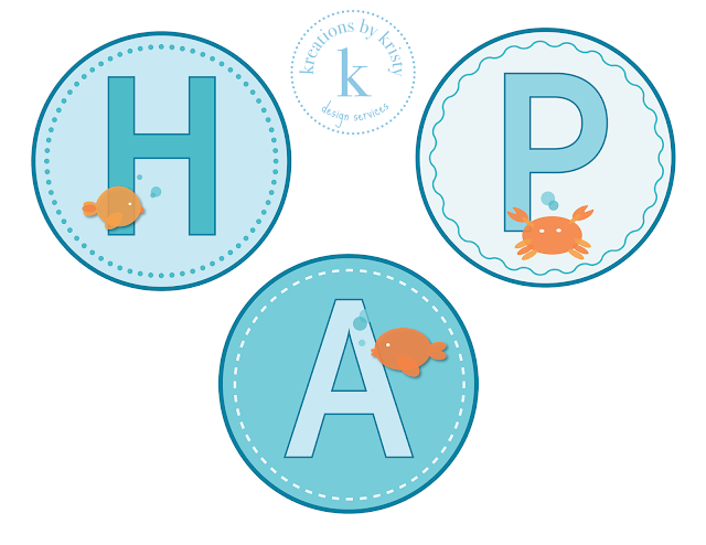 Fish-themed birthday party banner | kreations by kristy