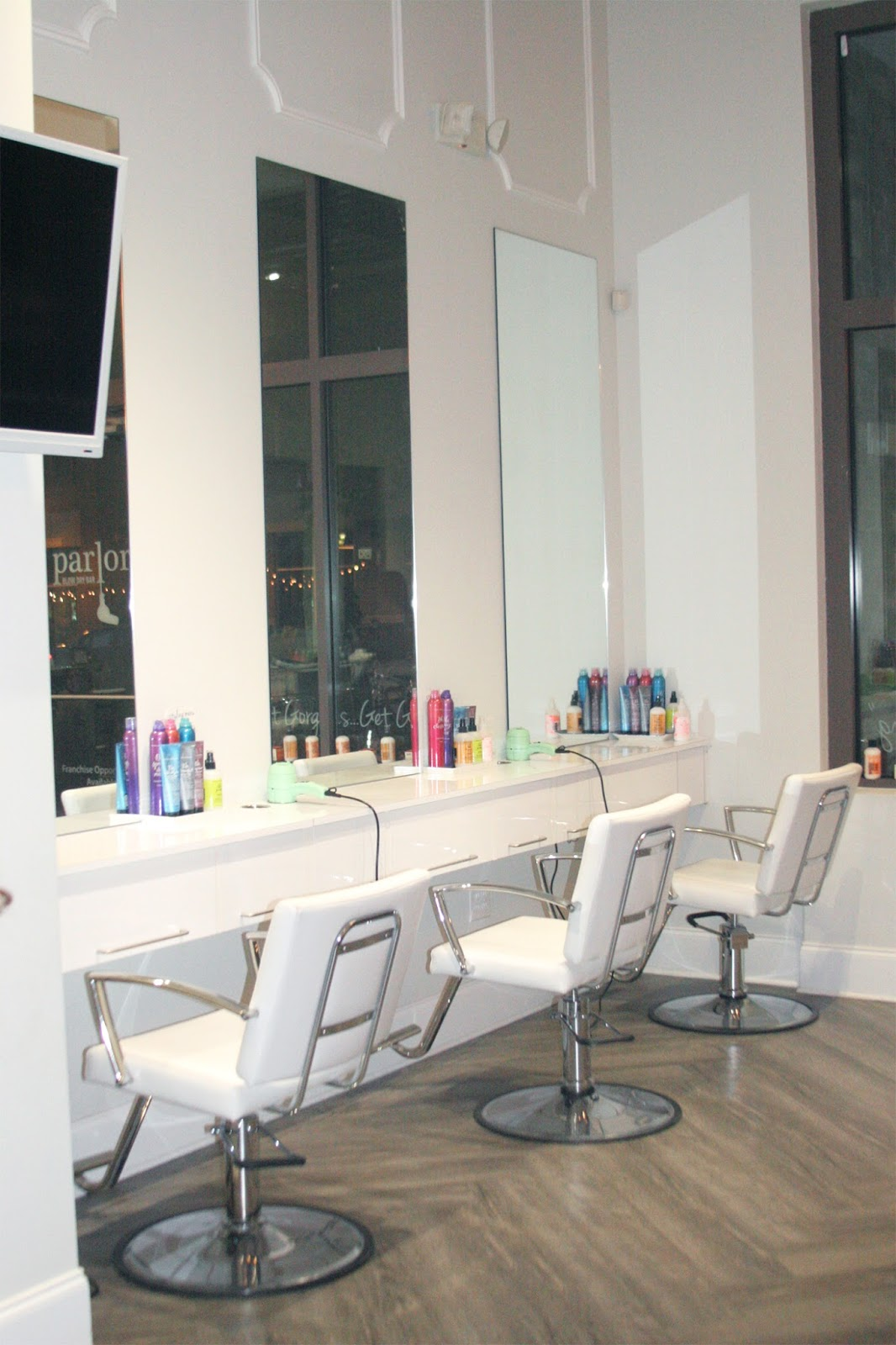 Blow-dry-hair-salon-with-all-white-decor-and-bb-products