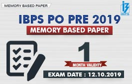 MEMORY BASED PAPER : IBPS PO PRE (12.10.2019) | ALL SHIFT