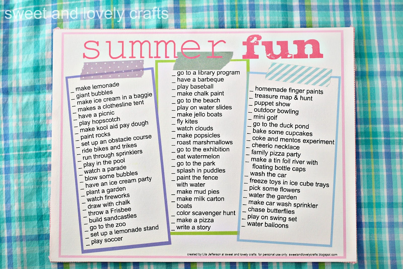 Sweet And Lovely Crafts Summer Fun Printable