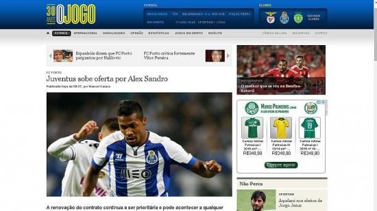 Jornal português 'O Jogo' diz que Juventus pagaria 30 milhões de euros por Alex Sandro