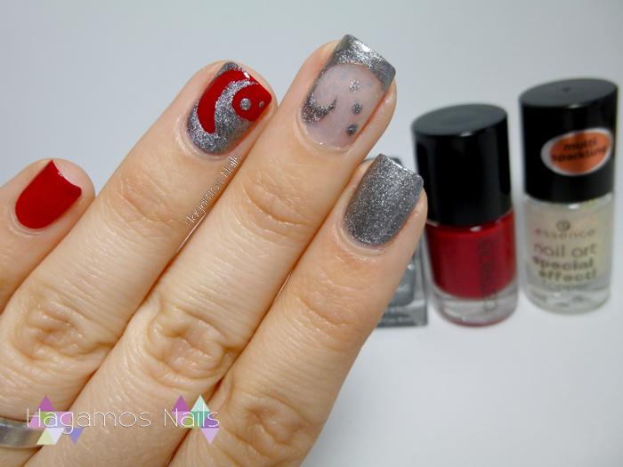 Nail art rojo y plata. Llily Reto Fairy's Tale Nails. Hagamos Nails