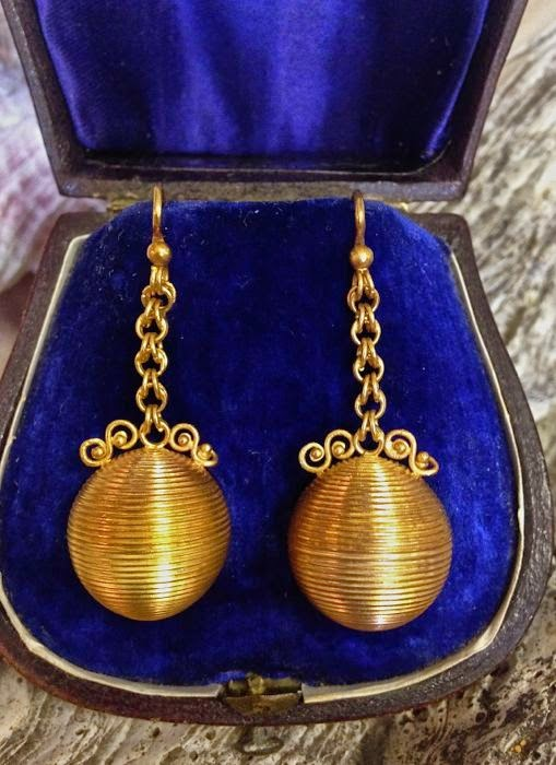 Victorian Russian Imperial gold earrings at The Pickled Hutch