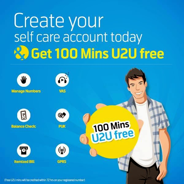 Signup for Uninor Self care and get free 100 Minutes