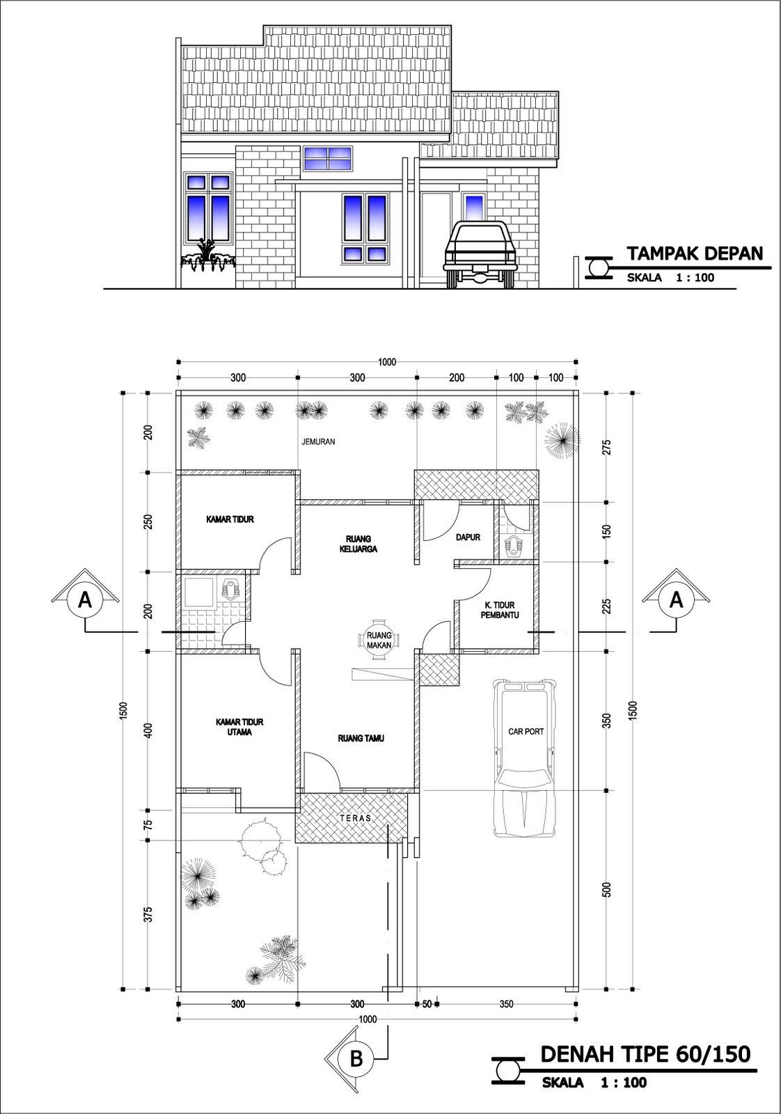 Ide Contoh Desain Dan Denah Rumah Minimalis Type 60 1 Dan 2 Lantai