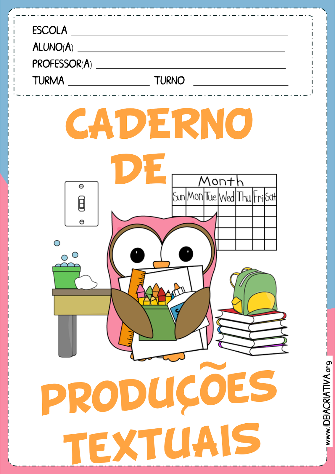 Capas para Caderno Corujinha