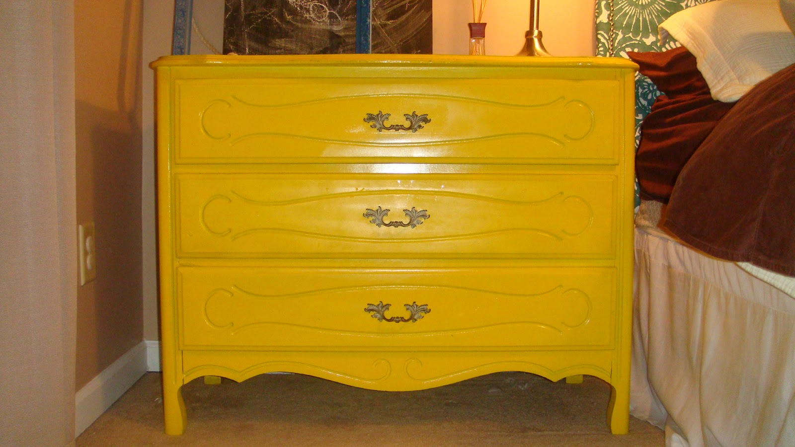 Ikea Yellow Chest Of Drawers ~ She is pulling double duty As chest of drawers and night stand Some