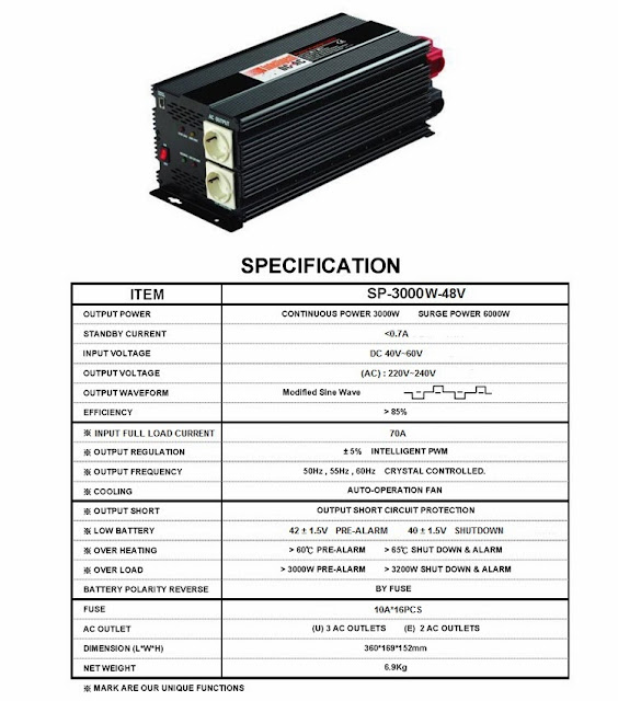 Inverter 3000 Watt 48VDC to 230VAC Taiwan