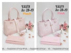 Paket Tas 3 in 1 Wanita + Dompet + Jam Tangan peach / pink, Murah Meriah Rp 139 Rb