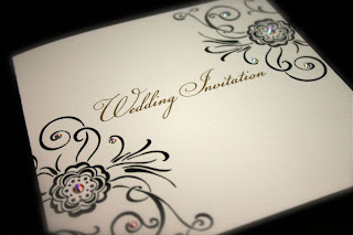 beautiful black and white with Bead wedding invitation