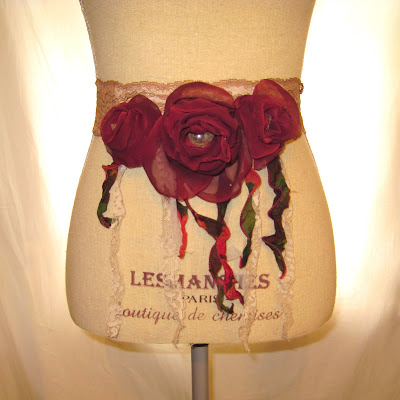 Handmade Romantic Bohemian Sash Belt, Gypsy Fringes Cottage Chic Colors,