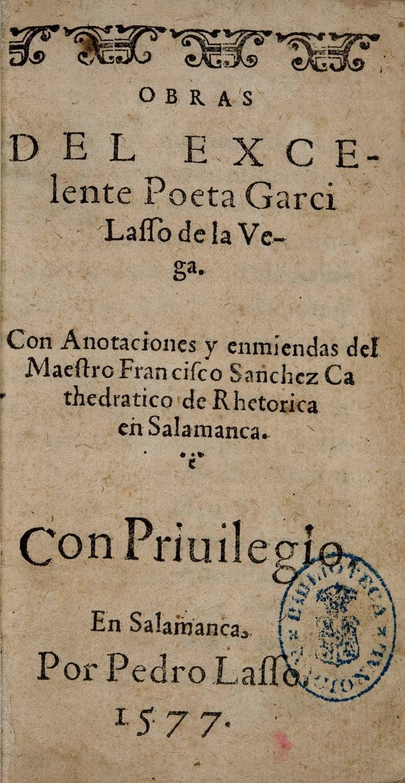 Obras de Garcilaso de la Vega Ed. 1577