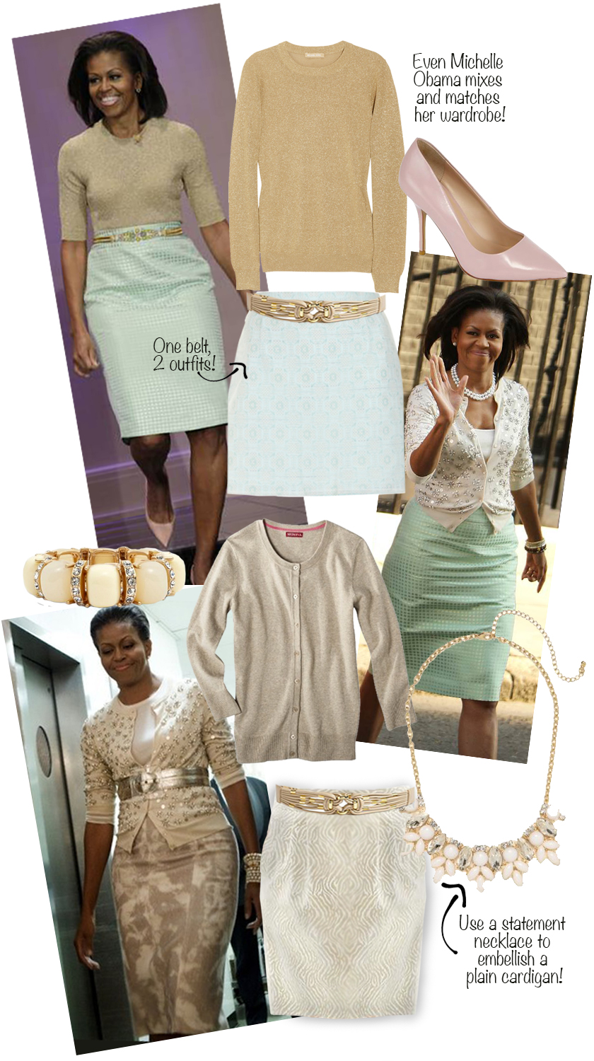 Michelle Obama pictures photos fashion style, Michael Kors sweater, Bauble Bar necklace