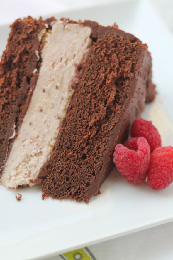 Chocolate Raspberry Cheesecake Cake