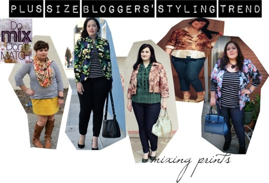 blogger curvy con outfit mix stampe