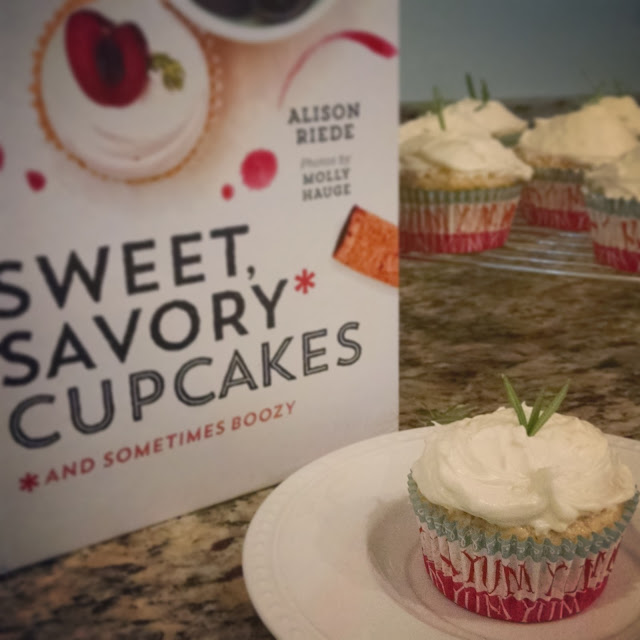 parmesan rosemary cupcakes with lemon zest frosting from sweet, savory, and sometimes boozy cupcakes cookbook