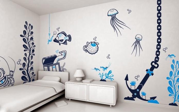 Dormitorio para ni os estilo marinero dormitorios - Mural para habitacion ...