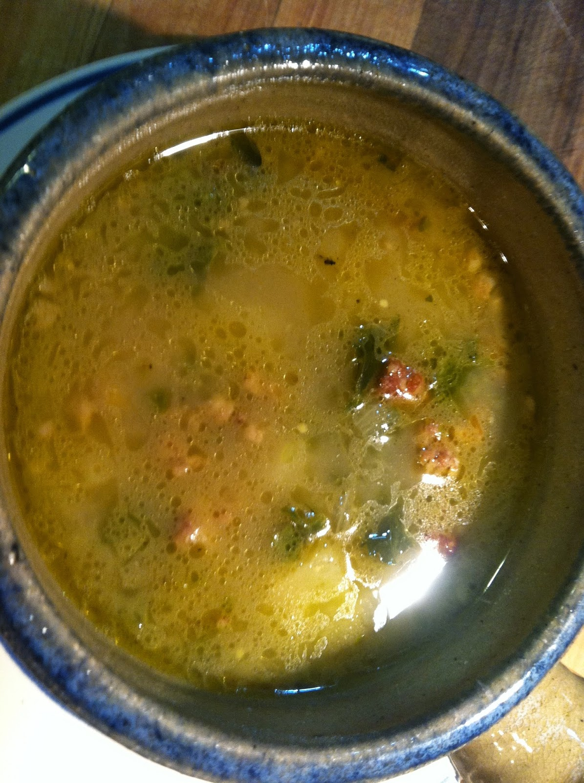 kale, sausage & potato soup – the last of our garden kale