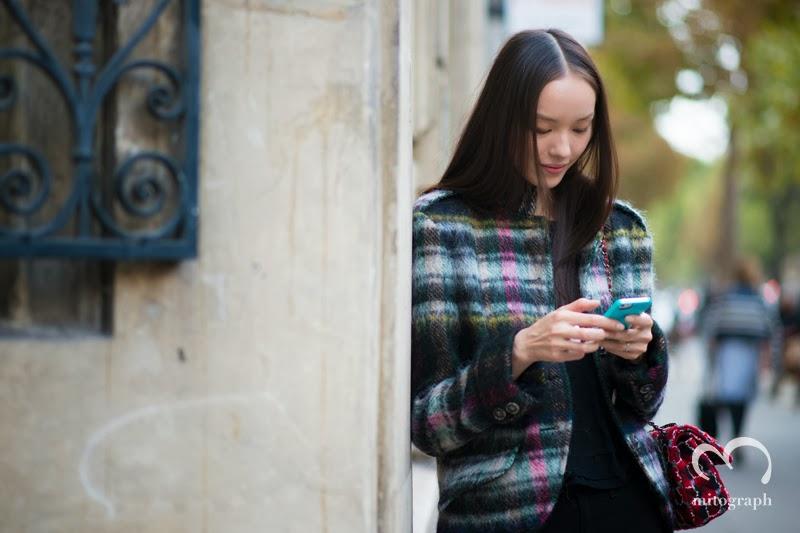 Chinese Model Fei Fei Sun texiting outside of Chloe Fashion Show at Paris