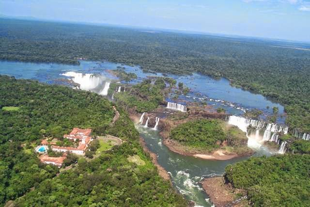 The Iguazu Falls  act as the border between these two countries.