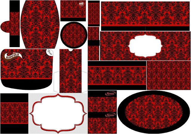 Damasco Negro en Fondo Rojo: Etiquetas para Candy Bar para Imprimir Gratis.