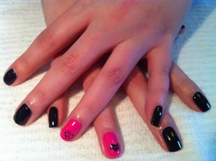 Sculpted stiletto acrylics with nail hand painted nail art and bev led polish manicure on natural nails in classic black and hot pink color combo with simple nail art prinsesfo Gallery