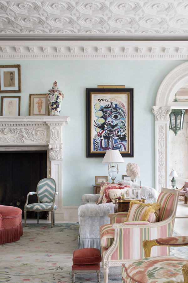 This Perfect Light Blue Wall Color...and That Coffered Ceiling. Picasso  Never Looked So Good.