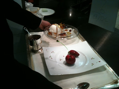 Laurent Jeannin at the Bristol Hotel. Cherries dessert about to be served