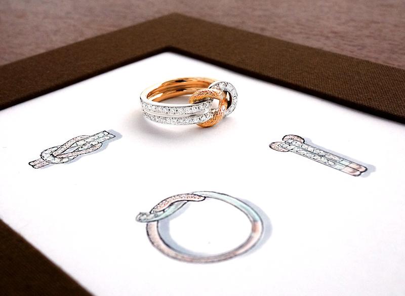 リスタイルされたリングをデザイン画の上に置いた写真