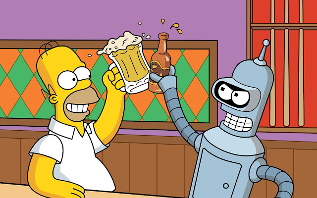 Homero Simpson y Bender
