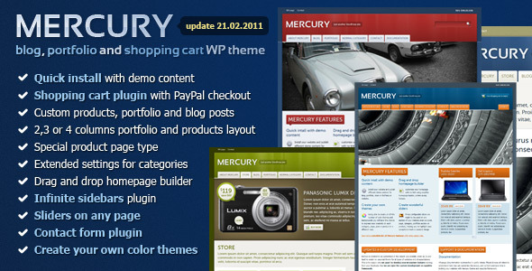 Mercury - blog, portfolio & shopping cart Wordpress Theme Free Download by ThemeForest.