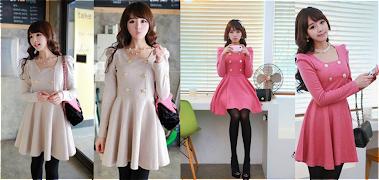 Beige/Pink Peplum Dress RM38
