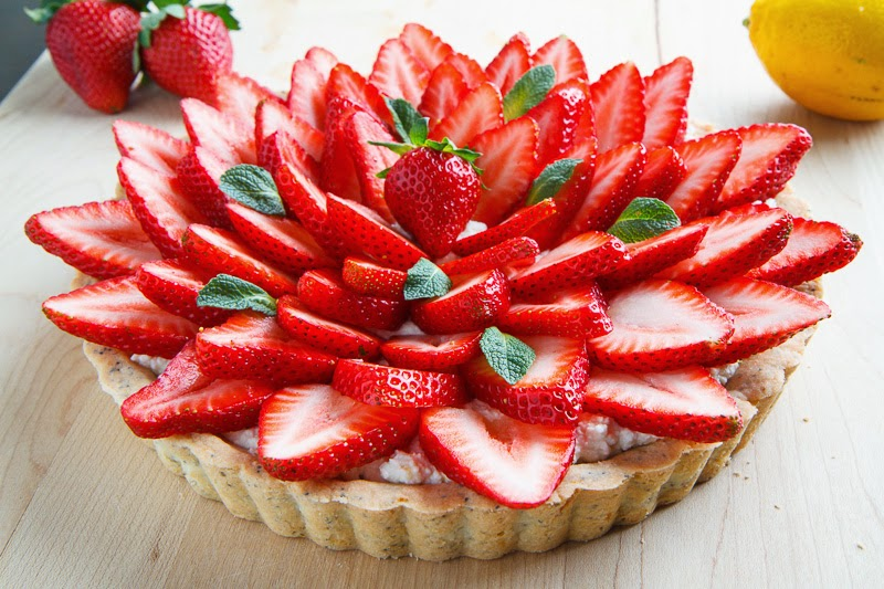 Lemon Ricotta Strawberry Pie with Poppy Seed Shortbread Crust