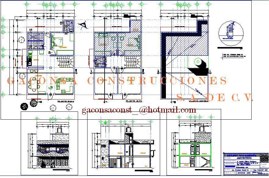 Gaconsa construcciones planos ejecutivos de casa for Proyecto arquitectonico pdf