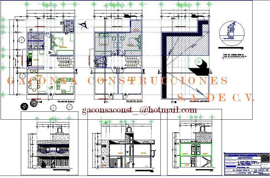 Gaconsa construcciones planos ejecutivos de casa for Planos de casa habitacion