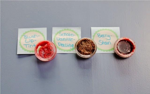 Selbstgemachte Lippenpflege aus Kokosöl Schoko Vanille und mehr