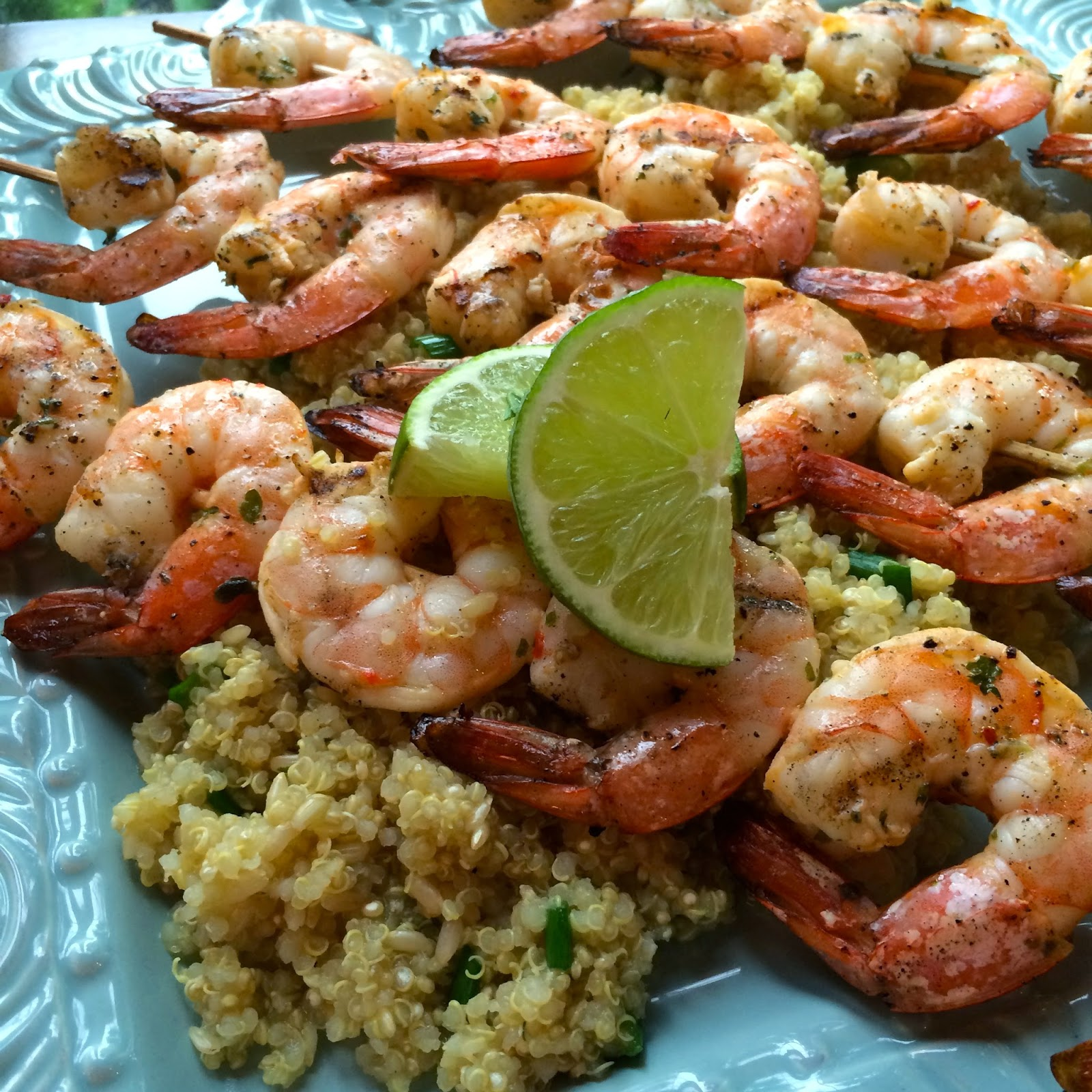 Grilled Tequila Lime Shrimp Skewers Over Quinoa