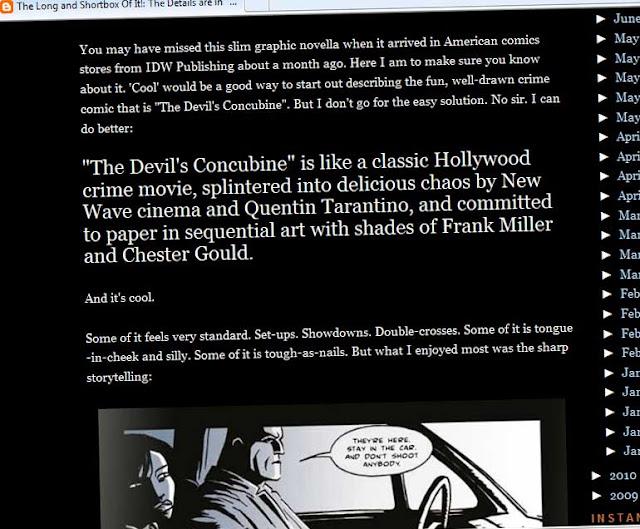 The Devil's Concubine: LONG AND SHORTBOX REVIEW