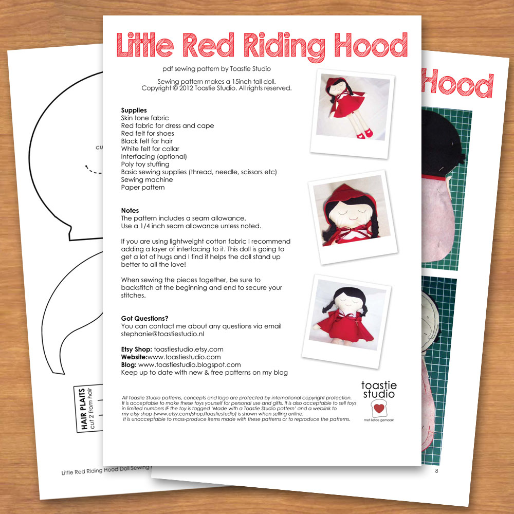 New sewing pattern little red riding hood handmade cuddles i have had the pattern and images ready for a couple of weeks but not had the time to stick it into illustrator and get it all pretty for you jeuxipadfo Choice Image