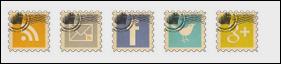 memasang widget ikon sosial media bentuk perangko di blog