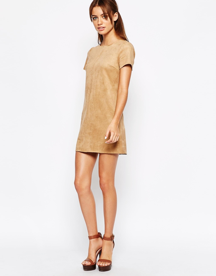70's camel suede shift dress tunic