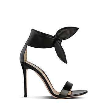 Gianvito Rossi black barely there stiletto sandals with knotted bow
