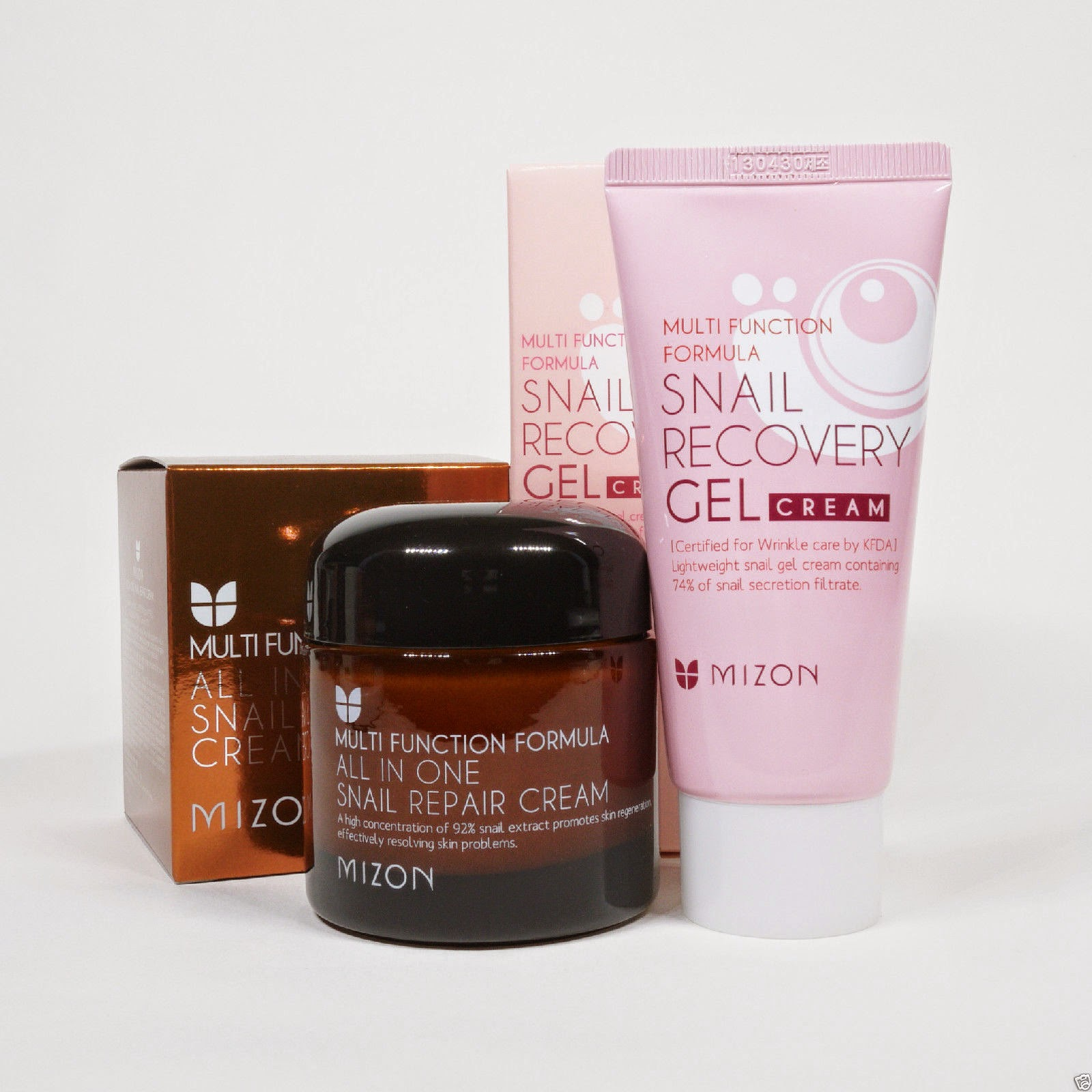 "MIZON SNAIL SET ""All In One Repair Healing Cream 75ml + Recovery Gel Cream 45ml"""