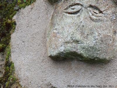"""A fotografia mostra um rosto estilizado esculpido sobre uma parede de textura arenosa, com algumas partes encobertas por húmus verde-escuro, sobre o qual se destacam os olhos bem juntos e ligeiramente caídos. Essa figura está entre outras que adornam antigos bebedouros. Cada uma delas tinha um significado embutido e a ideia era bombardear a mente dos escravos com mensagens subliminares. Esta com os olhos bem acentuados, remetia à """"eterna vigilância"""", mas hoje é um dos valiosos vestígios do Sítio Arqueológico de São Francisco - uma antiga fazenda no litoral paulista que, diz a lenda, teria pertencido a um cruel proprietário de escravos."""