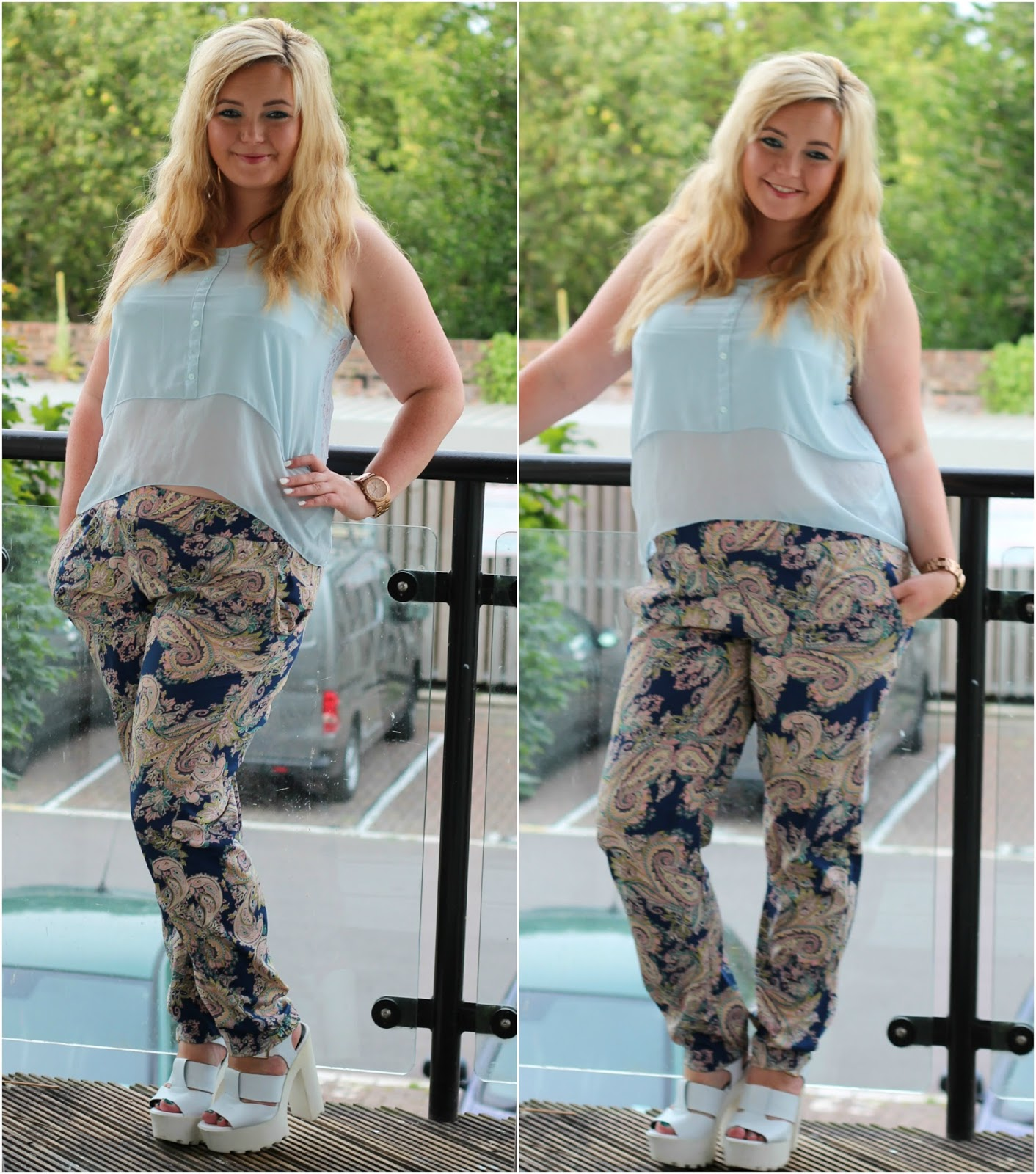 Date night outfit - H&M light blue chiffon crop top primark paisley print pastel trousers river island white cleated sole platforms
