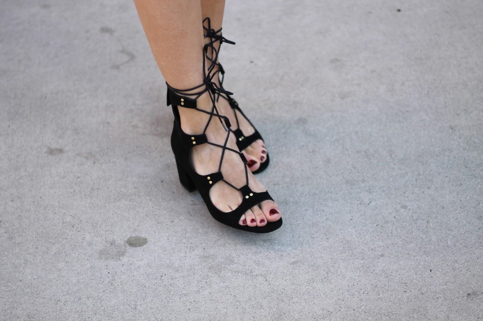 Zara black Lace-up Block Heeled Sandals