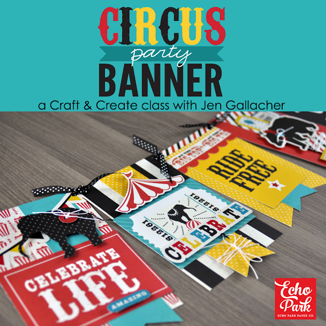 """Circus Party Banner"" workshop taught by Jen Gallacher available at: http://www.snapclicksupply.com/circus-party-banner-self-paced-workshop/"
