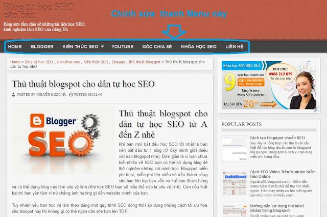 Chinh sua thanh menu trong blogspot