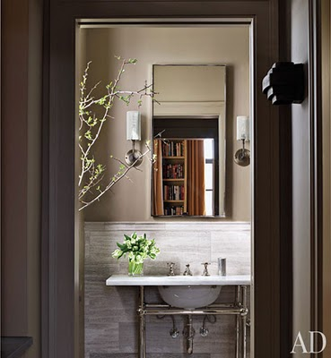 Color outside the lines powder room lighting for Architectural digest bathroom ideas