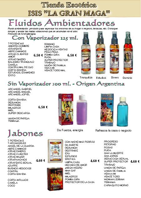 CATÁLOGO ESOTÉRICO AMBIENTADORES Y JABONES
